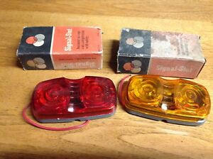 Vintage Nib Pair Signal Stat 1203 Amber red Early Truck Travel Trailer Cast Base