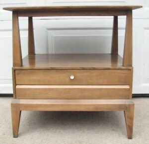 Heywood Wakefield Night Stand Sable Mid Century Modern End Table Drawer
