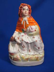 Antique Staffordshire Little Red Riding Hood Wolf Figurine