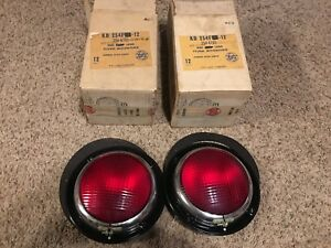 Pair Nos Nib Vintage Red Tail Stop Kd Lamp 254f Light Glass Lens Auto Truck Old