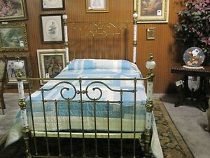 Antique Victorian Style Brass And Porcelain Poster Bed