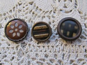 Antique Lot Of 3 Fancy Metal Buttons With Celluoid Centers One Is Perforated