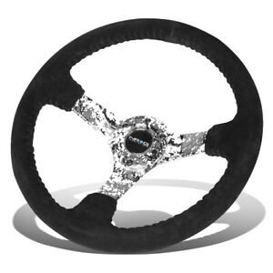 Nrg Reinforced 350mm 3 Deep Dish Black Suede Grip Camo 3 Spokes Steering Wheel