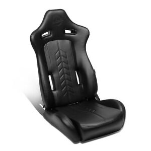 Nrg Innovations 1pc Left Arrow Pvc Full Reclinable Racing Bucket Seat Rsc 810bk