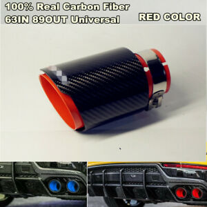 Real Carbon Fiber Sport Style Glossy Black Red Exhaust Tips Muffler 63mm 89mm