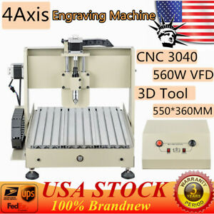 560w Cnc 4 Axis 3040 Cnc Router Engraver Machine Engraving Drill Milling Desktop