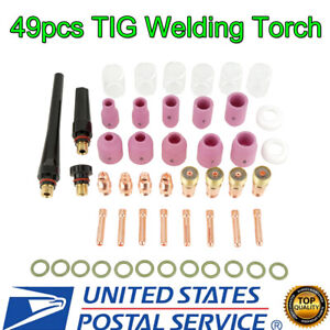 49pcs Tig Welding Torch For Wp 17 18 26 Stubby Gas Lens 10 Pyrex Glass Cup Kit