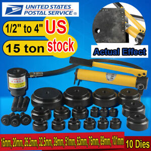 15 Ton Driver Hydraulic Tool Kit 10 Dies 16 101mm Knockout Punch Set W Case Usa