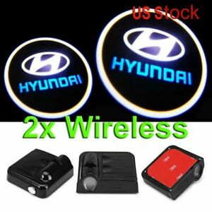 2x Ghost Shadow Wireless Projector Logo Led Door Step Light Courtesy For Hyundai