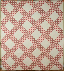 Large Well Quilted Vintage 1890 S Double Pink White Ocean Waves Antique Quilt