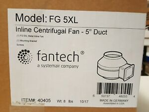 Fantech Fg 5xl Inline Centrifugal Booster Fan 5 Duct Diameter 120v 190 Cfm