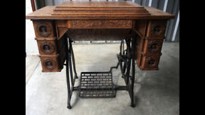 Wheeler Wilson 1893 Treadle D 9 Sewing Machine With Carved Oak Cabinet