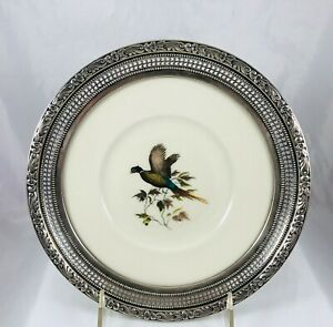Vintage Frank M Whiting Sterling Silver Pierced Floral Rim Pheasant China Pl