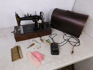 1920s Antique Electric Sewing Machine Portable Lark Westinghouse Bentwood Case