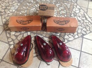 Set 3 Red Dietz 32 Vintage Marker Fender Lamp Glass Lens Truck Cab Light Nib