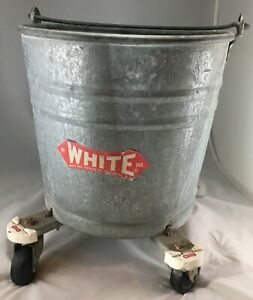 Vintage White Galvanized Metal Bucket Wheeled Rolling Mop With Handle