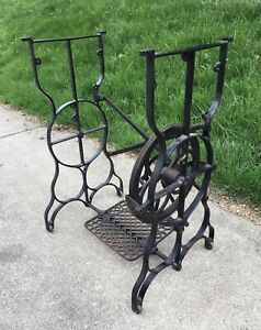 Antique New Queen Treadle Sewing Machine Cast Iron Base Stand Table Industrial