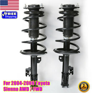 Fit 2004 2006 Toyota Sienna Awd Fwd Front Pair Complete Shocks Struts Spring Us