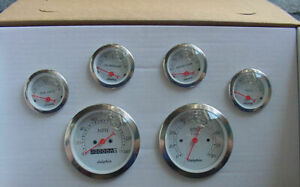 Dolphin 6 White Mechanical Speedometer Street Rod Gauge Set With Sender White Ch