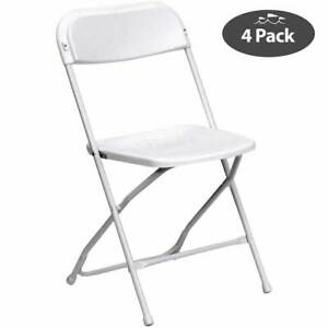 4 White Commercial Plastic Folding Chairs Premium Stackable Wedding Party Chair