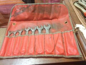 Vintage Blue Point Snap on 7 Pc Short Combination Wrench Set c 94 12pt Sae Usa