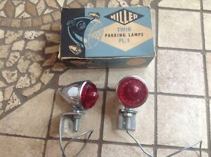 Nib Pair Vintage Parking Light 12 V Red Lens Miller Twin Lamps Truck Auto Early
