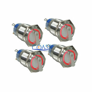 4x Durable 12v 19mm Car 2 Position On off Red Angel Eye Led Selector Switch