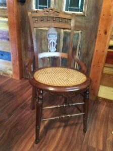 Antique Victorian Eastlake Style Cane Bottom Hip Hugger Dining Chairs Ornate 1