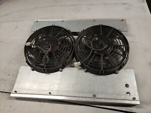 Resto Mod Pro Touring Twin Electric Fans With Mount Brackets Radiator Cooling