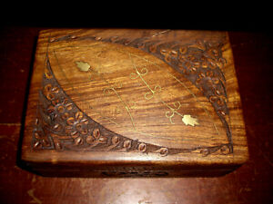 Vintage Carved Wood Box Brass Inlay And Hinged Lid