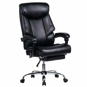 Vanbow Reclining Office Chair High Back Memory Foam Bonded Leather Chair Black