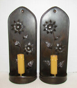 2 Period Lighting Adaptation Historic Deerfield Blackened Tin Sunflower Sconces