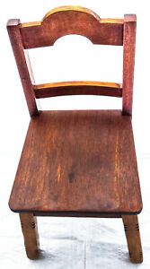 Vintage Side Chair Hand Made 32 X 18 Notched Pattern School House Chair