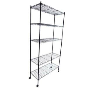Durable 65 5 Tier Shelf Wire Metal Shelving Rack W rolling Home saving