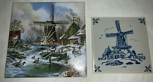 Group Of 2 Dutch Porcelain Tiles With Windmill Scenes Delft Multicolored