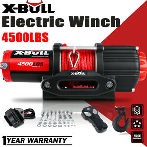X Bull 4500lbs 12v Electric Winch Atv Utv Towing Truck Synthetic Rope Red 4wd