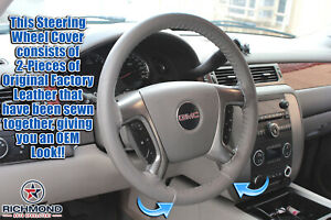 2007 2013 Chevy Avalanche Gray Leather Steering Wheel Cover W needle Thread