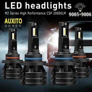 Auxito 4x 9005 9006 Combo 20000lm Led Headlight Kit Hb3 Hb4 Hi low Beam Csp Bulb