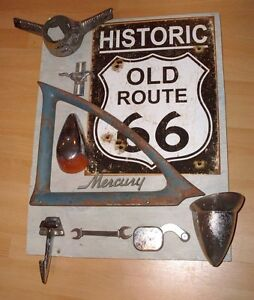 Vintage Auto Car Parts Collage Recycled Wall Art Display Ford Chevy Route 66