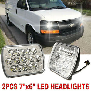 7 x6 6x7 Led Headlight Hi lo For Chevy Express Cargo Van 1500 2500 3500 Truck