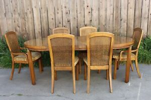 Mid Century Campaign Style Accolade By Drexel Dining Table And 6 Chairs