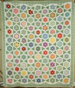 Vintage 30 S Flower Garden Antique Quilt Small Pieces Picket Fence Border