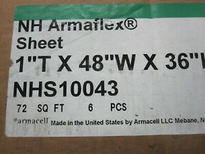 6 Armaflex 1 Insulation Sheets 36 x48 Nhs10043 Closed Cell 72 Sq Ft Per Box