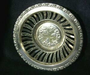 Silver Wine Coaster W Grape Pattern Signed Ht Silver Plated Reticulated
