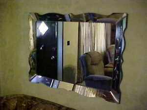 Vintage Sofa Size Wall Hanging Mirror Beveled With Beautiful Ornate Design Nice