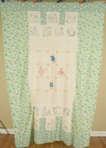 Beautiful Vintage Quilt Top W Children Animals Wonderful Hand Embroidery