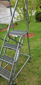 Ega Steel Industrial Rolling Ladder 4 step 16 Wide Perforated Steps Gray 450