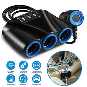 51w 3 Way Car Cigarette Lighter Socket Splitter Adapter Three Usb Charger 12 24v