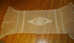 Antique French Net Battenburg Tape Lace Bedspread Pillow Cover Header Runner