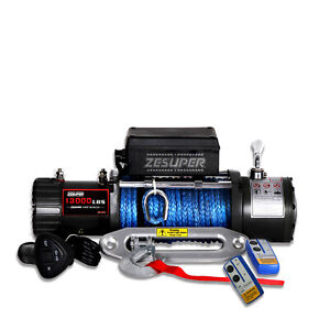 Zesuper 12v 13000lbs Electric Winch Towing Truck Synthetic Rope Off Road